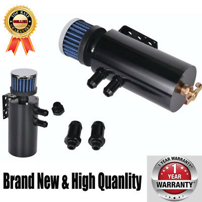 Universal Aluminium Baffled Oil Catch Tank Breather Can + Stainless Steel Filter