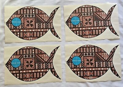 Lot Pan Am Dinner Table Place Mats Pacific Island Tapa Prints Vintage Never Used