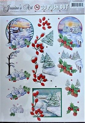 A4 DIE CUT 3D PAPER TOLE DECOUPAGE Push Out Sheet Christmas Classic Scenes Holly