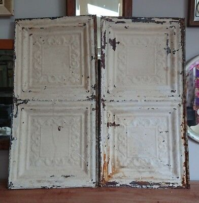 PAIR architectural antique salvaged American tin ceiling tile Ohio VINTAGE Old!!