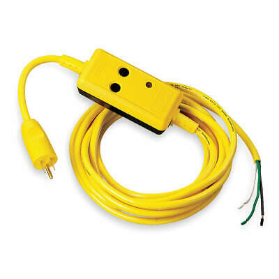 HUBBELL WIRING DEVICE-KELLEMS Line Cord GFCI,15ft,15A,Yel,120V, GFPOEMM, Yellow
