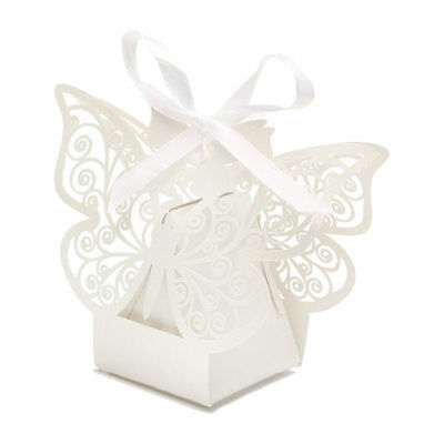 Paper Butterfly Cut Candy Cake Boxes Wedding Party Gifts Favor Case, Ivory A2W6