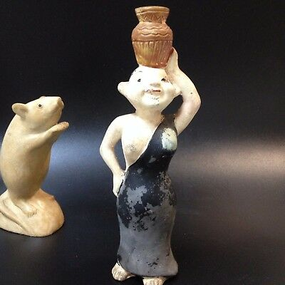 Early Vintage Ceramic Minoan Woman Figural Pepper Shaker - 18cm, Original Cork