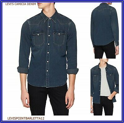 huge selection of 289a0 23472 LEVI'S CAMICIA JEANS uomo levis manica lunga blu regular Barstow Western  shirt