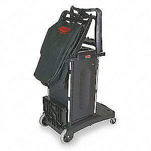 RUBBERMAID Housekeeping Cart,Black,Structural Web, FG9T7600BLA, Black