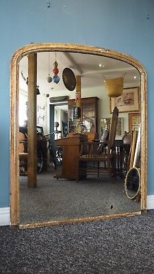 Beautiful C.1900 Large Dome Arch Top Victorian Over Mantle Gilt Mirror DELIVERY