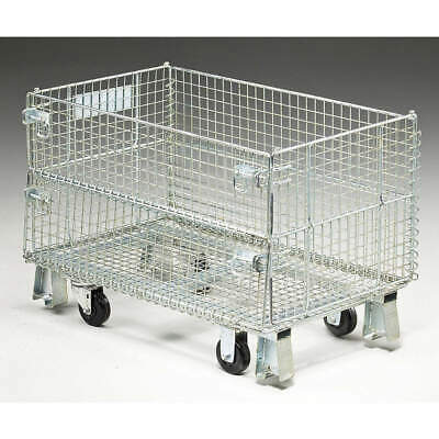 NASHVILLE WIR Steel Wire Mesh Collapsible Container,20 In L,Silver, JR1C, Silver