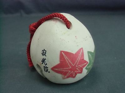 DR75 Japanese Dorei Clay Bell Ceramic Hand Made Maple leaf Vtg Pottery Yakimono