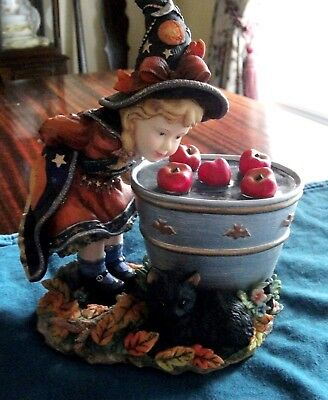 "LENOX  ""BOBBING FOR APPLES""  Vintage 2003 Halloween Witch w/ apples & black cat"