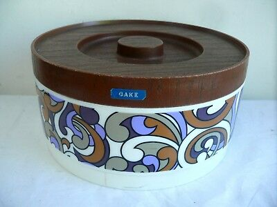 Willow Australia Plastic Vintage Retro Cake Canister Psychedelic Paisley Design