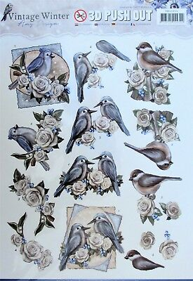 A4 DIE CUT 3D PAPER TOLE DECOUPAGE Push Out Sheet Birds Flowers