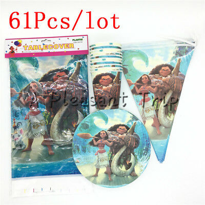 61pcs Party Moana Maui Birthday Kids Tableware Favor Girls Decoration Supplies