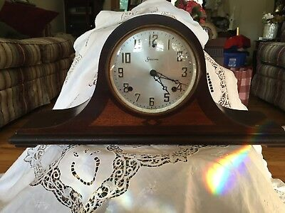Antique Sessions Dulciana with tag  8 Day Inlay Mantle Clock with Key