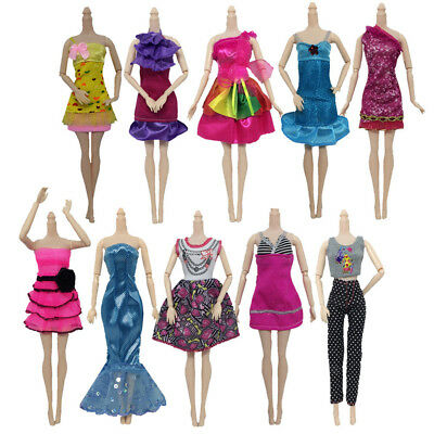 10Set/Pack Outfit Set Skirt Dress & Top Princess Gown For 29cm Barbie Doll