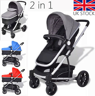2 in 1 Baby Stroller  Pushchair Cot Newborn Travel System Buggies Foldable Pram