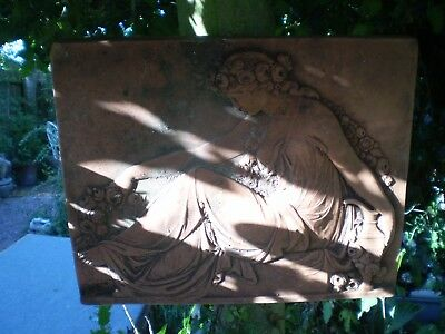 Architectural Salvage, Vintage French Terracotta Grecian Maiden Wall Plaque