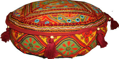Beaded Mirror Embroider Ottoman Pouf Foot Rest Patch Work Cotton Sofa Seat Cover