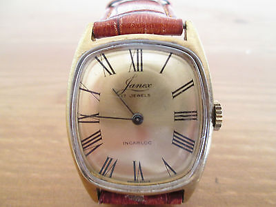 vintage mens janex swiss , hand winding watch, runs from my own collection