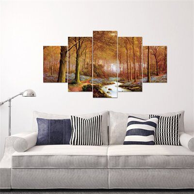 Autumn Forest Landscape Wall Art Canvas For Living Room 5 Pieces Painting NS