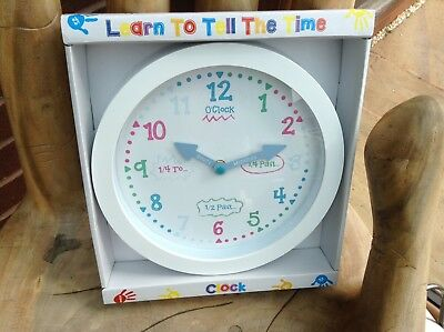 Learn To Tell The Time Children's White Detailed Wall Clock .. New & Boxed ..
