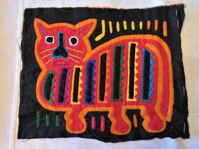 """Mola From Central America  Red & Orange Cat on Black 8.5 x 7""""  Hand Stitched"""