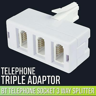 3 Way BT Telephone Line Socket Splitter Converter Y Adapter One To Three UK
