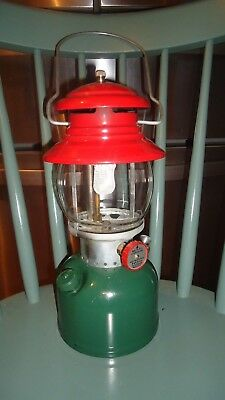 Vintage 1951 Coleman Lantern 200A  known as Christmas lantern Red/Green