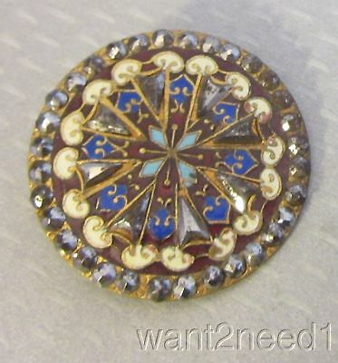 19C antique French multicolor ENAMEL & CUT STEEL BUTTON 37mm large