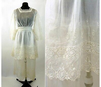 Antique Edwardian teens white tea dress wedding dress sheer organza lace tiers
