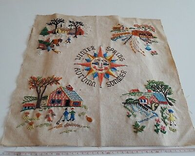 VINTAGE EMBROIDERED LINEN THE FOUR SEASONS embroidery needle work unique detail
