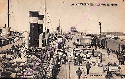 CPA 50100 CHERBOURG Gare maritime UNITED STATES LINES ca1931