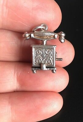 RARE Vintage Sterling Silver OPENING Antique Telephone Reveals People Charm
