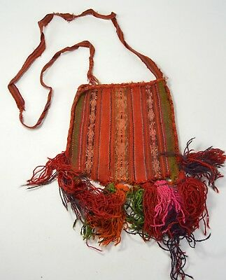 Large Antique Chuspas Coca gathering woven pouch from Bolivia