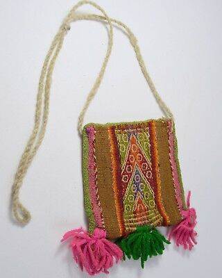 Colorful Vintage Chuspas Coca gathering woven pouch from Bolivia