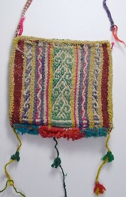 Nice Antique Chuspas Coca gathering woven pouch from Bolivia