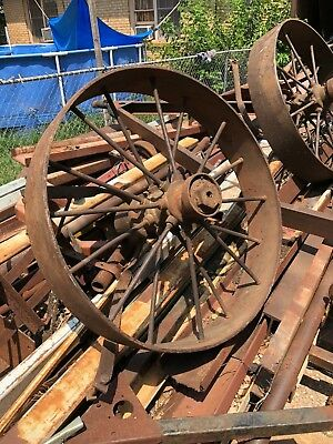 Antique Steel Wagon wheels Large 38 inch tall 7 inch wide bearing hub 13 inches