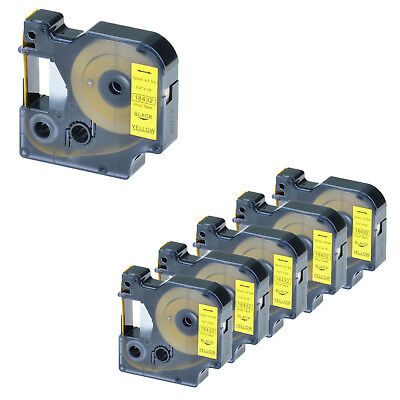 6PK Black on Yellow VINYL LABEL Tape 18432 for Dymo RHINO LabelManager 210D 220P