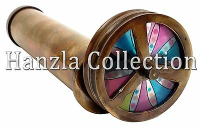 Vintage Antique Brass Double Rotating Wheel Stained Glass Kaleidoscope Handmade