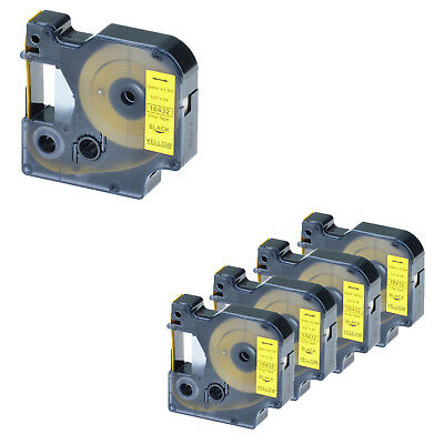 5 PK Black on Yellow VINYL LABEL Tape 18432 for Dymo RHINO LM 450D 500TS 1/2''