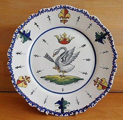 Late 19Th Century Blois French Faience Plate With Swan Arrow And Crown Crest
