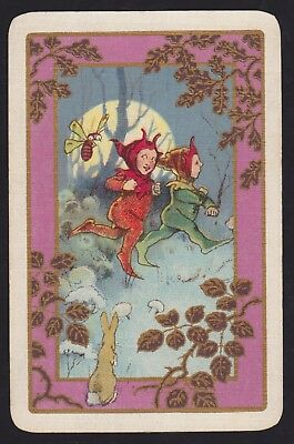 1 Single VINTAGE Swap/Playing Card MOONLIGHT PIXIE IMP ELF RABBIT + BEE Gold Det