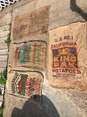 Vintage Lot of 4 Burlap Potato Sack Bag Green Valley River Valley Driscoll King