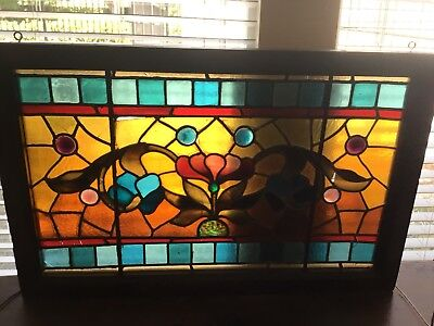 Unique vintage floral stained glass window panel
