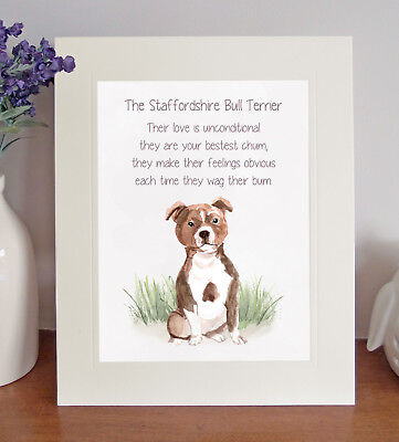 Staffordshire Bull Terrier BESTEST CHUM Novelty Poem 8x10 Picture/Print Fun Gift