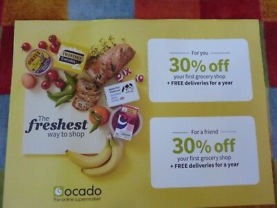 *Ocado 2 X 30% Off Voucher Coupon Order by 26/08 2018 + Deliveries for a Year!*