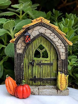 Miniature Dollhouse FAIRY GARDEN ~ Mini Fall HALLOWEEN Door with Pumpkins ~ NEW