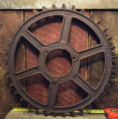 "Vintage Industrial Gear LARGE 24"" Cast Iron Steel Farm Wheel Art Steampunk Gear"
