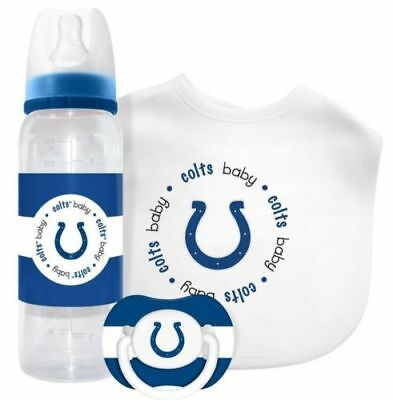 INDIANAPOLIS COLTS BABY GIFT SET, Bib Bottle Pacifier Infant Newborn LICENSED