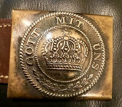 Pre-1871 Franco-Prussian War-WW 1, Prussian Enlisted Man  Brass Belt Buckle& Tab