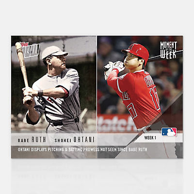 2018 Shohei Ohtani Babe Ruth Pitch & Bat Topps Now Moment Of The Week Card Mow-1